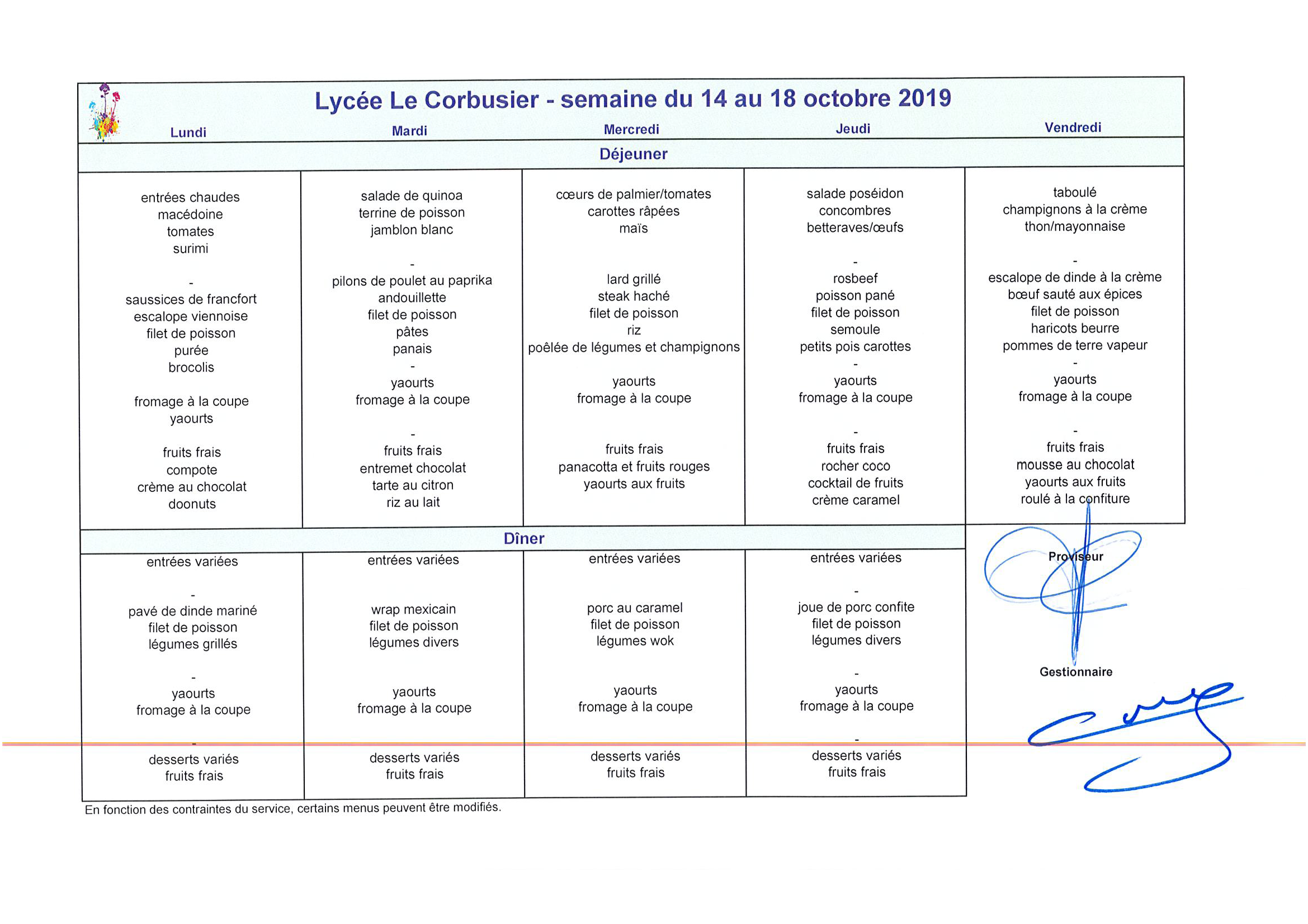 Menu du 14 au 18 octobre 2019